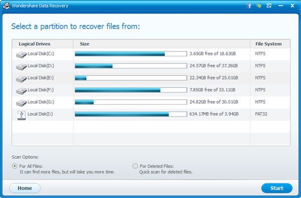 Recover lost files after system restore - Select partition
