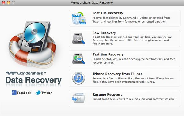 Data Recovery for Mac - Main Screenshot